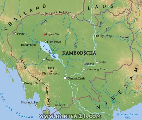 Physische karte von kambodscha